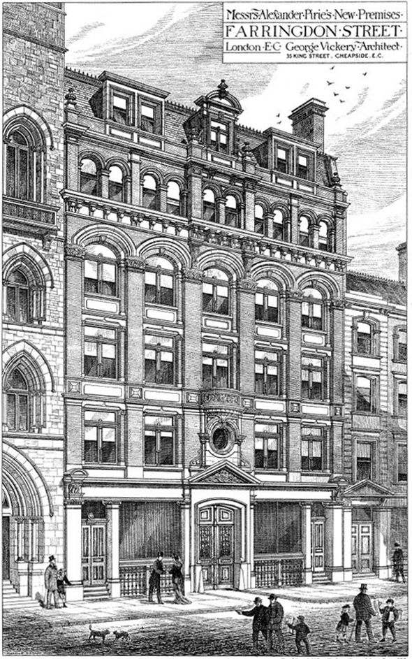 1879 &#8211; Messrs. Alexander Pirie&#8217;s New Premises, Farringdon St., London