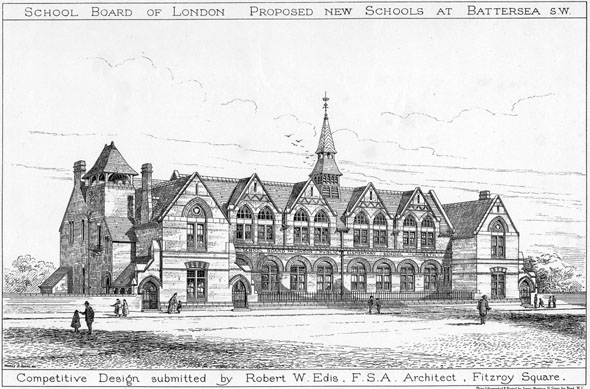 1873 – Proposed New Schools at Battersea, London