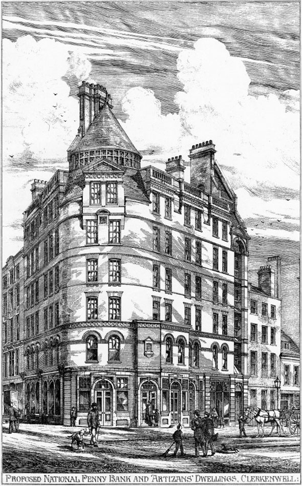 1880 &#8211; National Penny Bank &#038; Artizans Dwellings, Clerkenwell, London