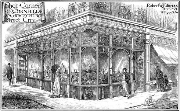 1878 –  Shop Corner, Cornhill & Gracechurch St., London
