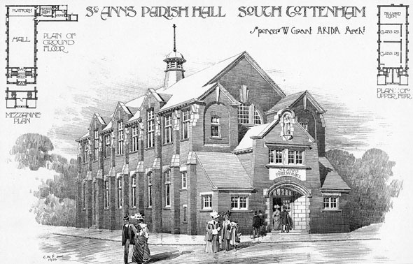 1906 – St. Annes Parish Hall, South Tottenham, London