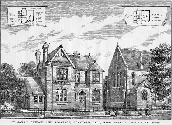 1878 – St. John's Church & Vicarage, Stamford Hill, London