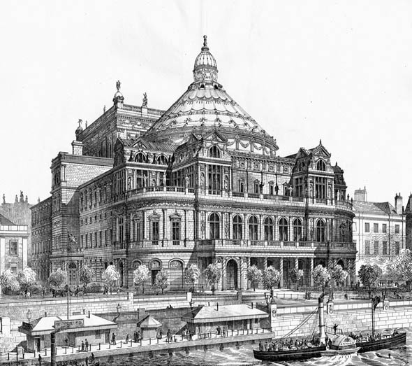 1876 – Proposal for New National Opera House, Thames Embankment, London