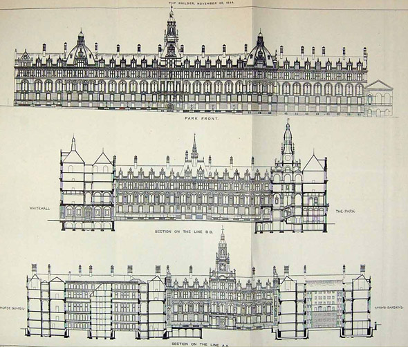1884 &#8211; New Admiralty &#038; War Offices, Whitehall, London
