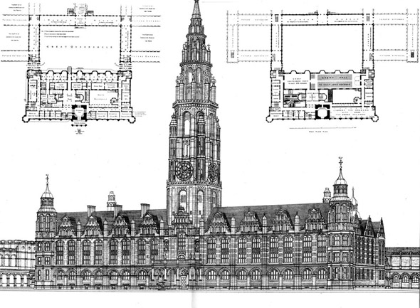 1887 &#8211; Unsuccessful design for Imperial Institute, South Kensington, London