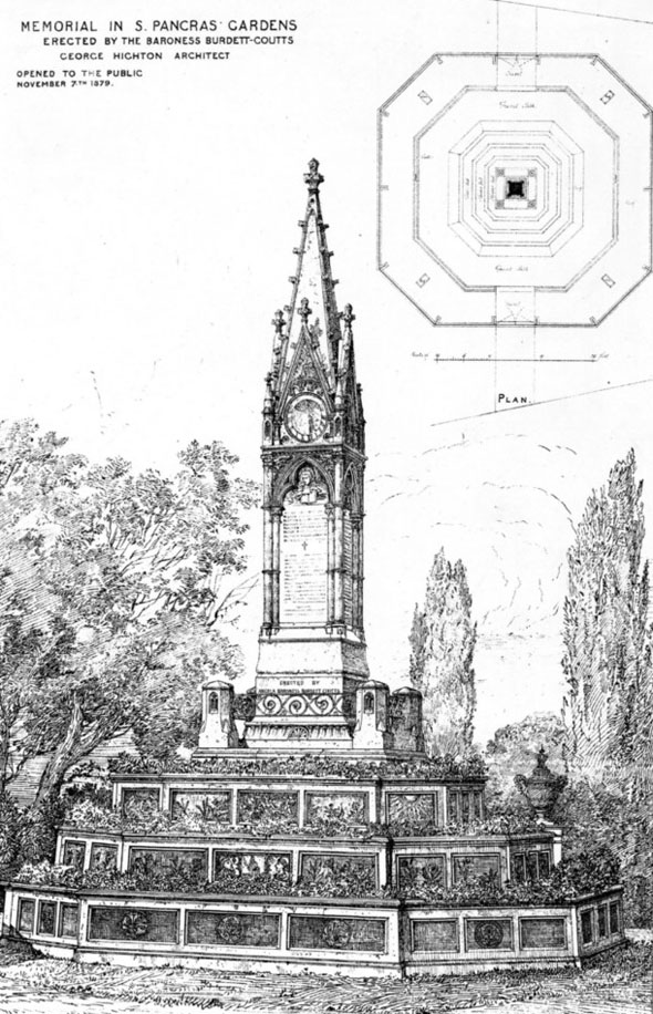1879 &#8211; Burdett-Coutts Memorial Sundial, St. Pancras Gardens, London