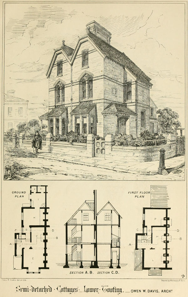 1869 &#8211; Semidetached Cottages, Lower Tooting, London