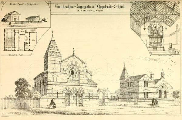 1868 &#8211; Congregational Chapel and Schools, Twickenham, London