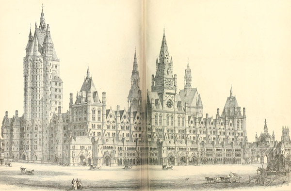 1867 – Design for Royal Courts of Justice, London by  J.P. Seddon