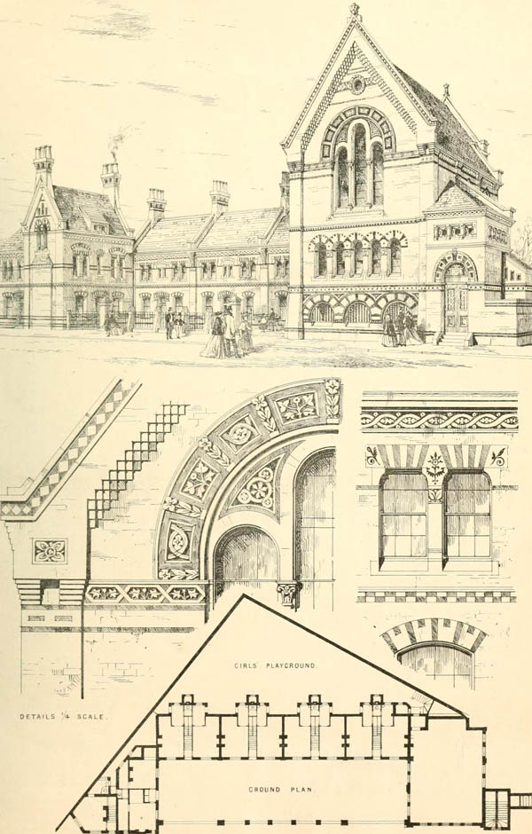 1867 – Proposed Schools & Almshouses, Walworth, London