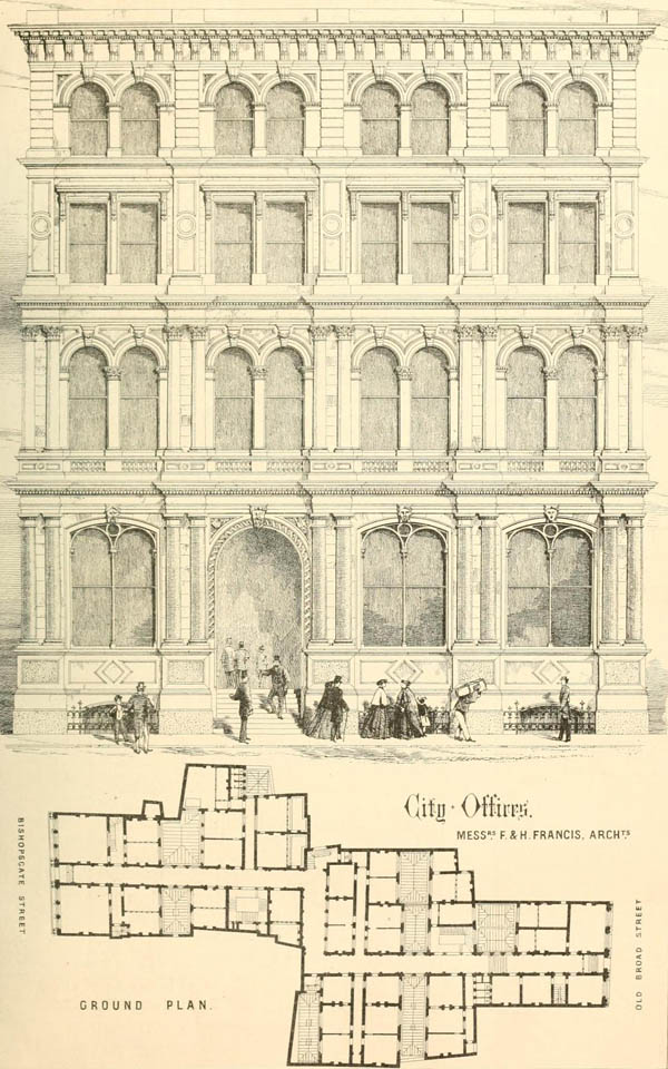 1867 &#8211; Palmerston Buildings, Old Broad St and Bishopsgate, London