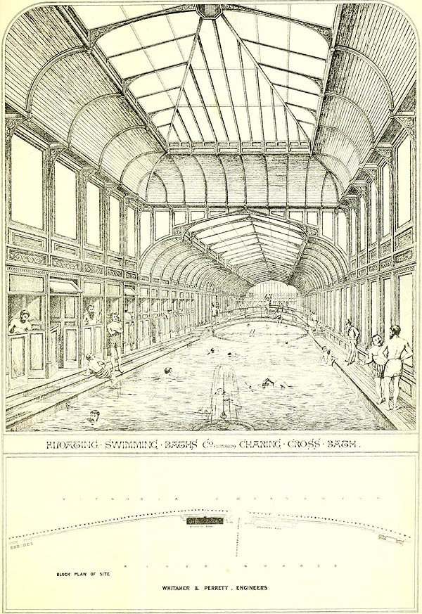 1874 – Floating Swimming Baths, Charing Cross, London