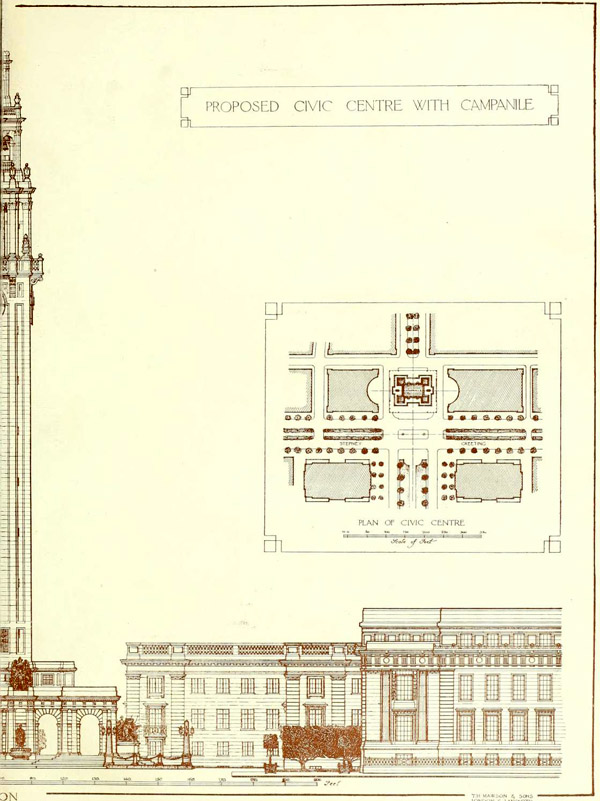 1919 – Proposal for Civic Centre with Campanile, Stepney, London