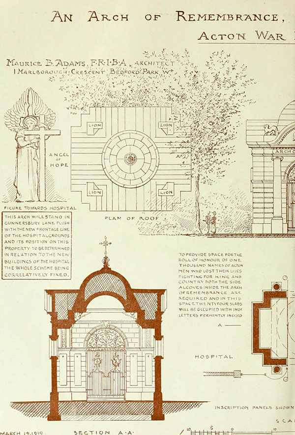 1919 – Proposal for Arch of Remembrance, Acton, London