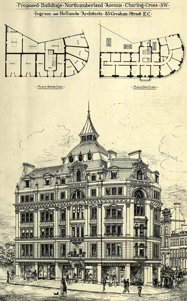1881 – Proposed Building, Northumberland Ave., Charing Cross, London
