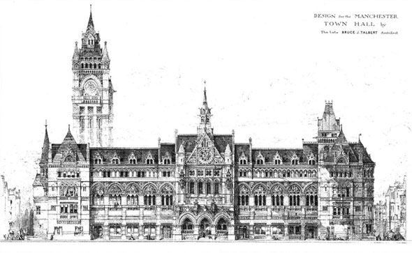 1881 –  Designs for Manchester Town Hall Competition, Lancashire