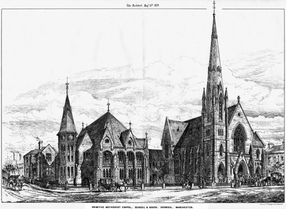 1876 &#8211; Primitive Methodist Chapel, School &#038; House, Ardwick, Manchester, Lancashire