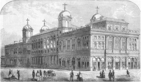 1855 – Design for Town Hall, Newcastle upon Tyne