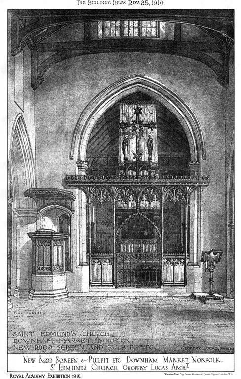 1910 &#8211; New Rood Screen &#038; Pulpit, St. Edmunds Church, Downham Market, Norfolk