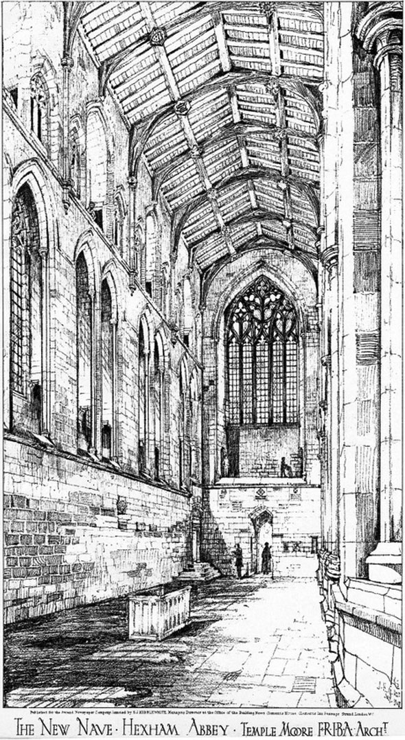 1908 &#8211; The New Nave, Hexham Abbey, Northumberland