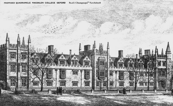 1881 – Proposed Quadrangle, Magdalen College, Oxford, Oxfordshire