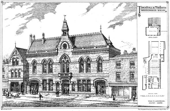 1872 – Town Hall & Markets, Whitchurch Salop, Shropshire