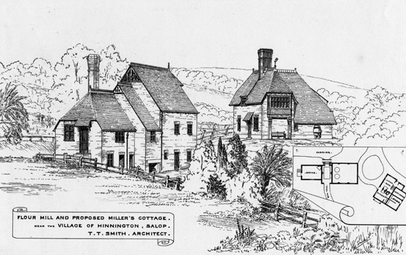 1875 &#8211; Flour Mill &#038; Proposed Miller&#8217;s Cottage, Salop, Shropshire