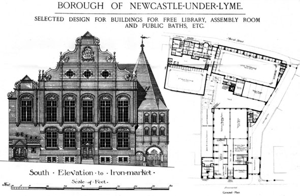 1885 – Library, Assembly Rooms & Public Baths, Newcastle-under-Lyme, Staffordshire