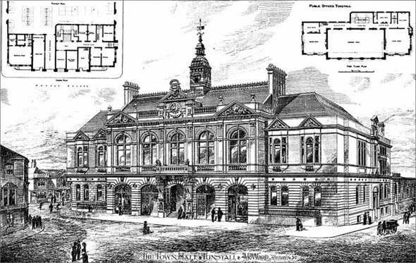 1884 &#8211; Town Hall, Tunstall, Staffordshire
