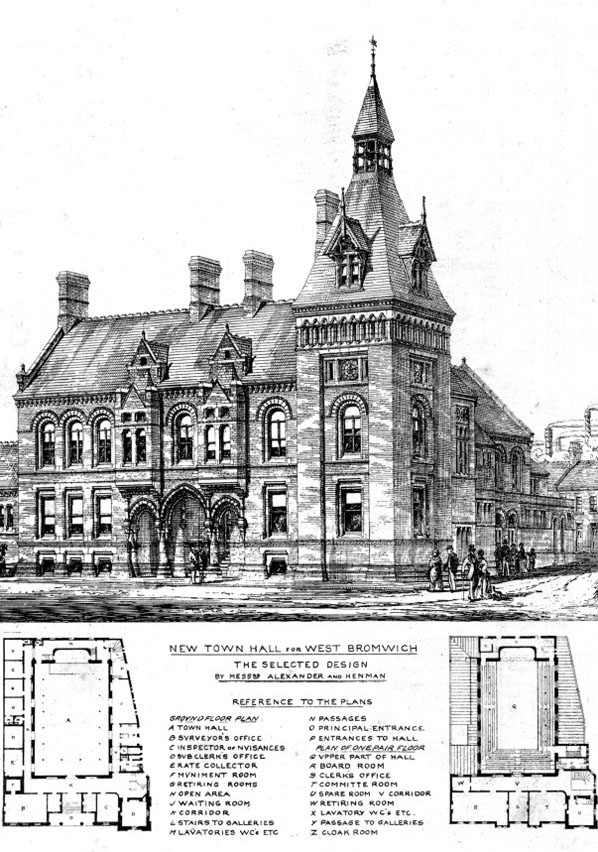 1875 – Selected design for Town Hall, West Bromwich, Staffordshire