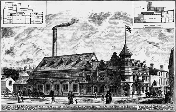 1887 &#8211; New Offices &#038; Printing Works, Ipswich, Suffolk