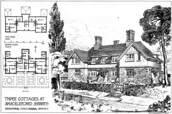 1904 &#8211; Three cottages, Shackleford, Surrey