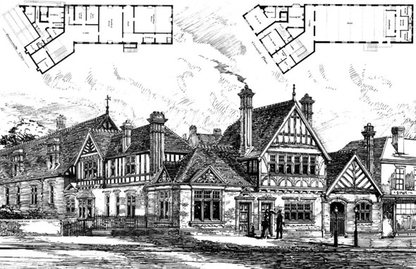 1887 – Village Hall & London & London County Bank, Esher, Surrey