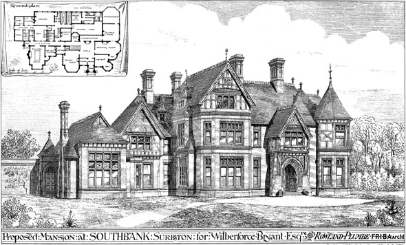 1877 &#8211; Proposed Mansion at Southbank, Surbiton, Surrey