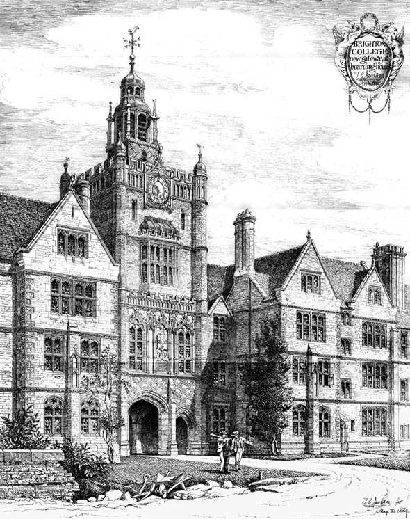 1884 – Brighton College, New Gateway & Boarding House, Sussex