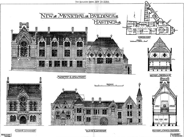 1880 – New Municipal Buildings, Hastings, Sussex