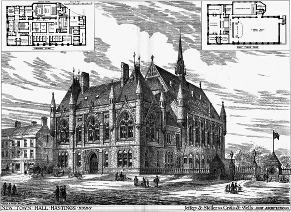 1875 – Design for Hastings Town Hall, Sussex