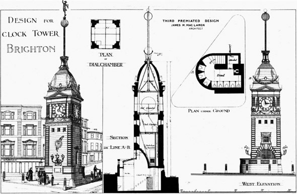 1881 &#8211; Design for Clock Tower, Brighton, Sussex