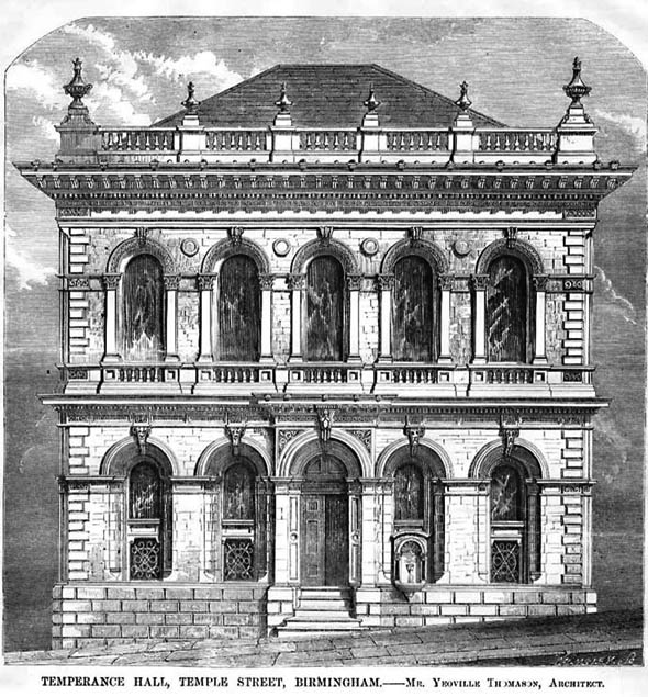 1860 – Temperance Hall, Temple Street, Birmingham, Warwickshire