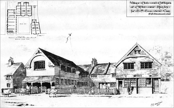 1885 &#8211; Village Club &#038; Cottages, Clifton, Rugby, Warwickshire