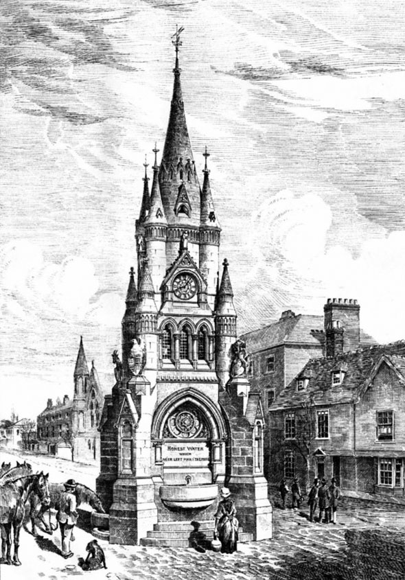 1887 &#8211; Drinking Fountain &#038; Clock Tower, Stratford on Avon, Warwickshire