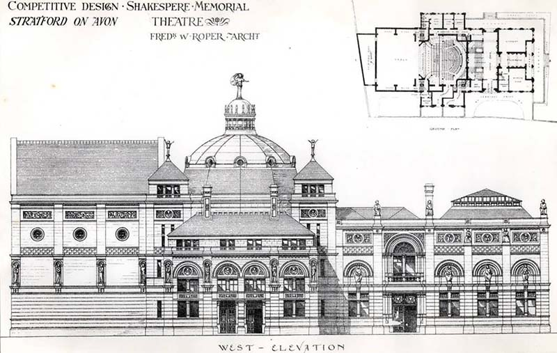 1876 – Design for Shakespeare Memorial Theatre, Stratford on Avon, Warwickshire