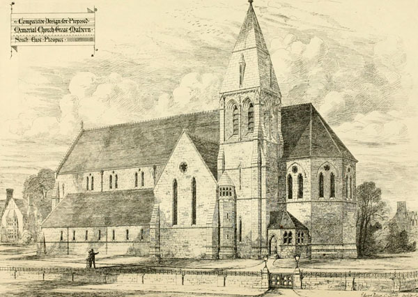 1873 &#8211; Design for Memorial Church, Great Malvern, Worcestershire
