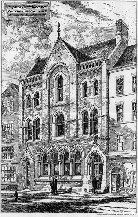 1874 &#8211; Proposed Stourbridge and Worcester Bank, Worcester, Worcestershire