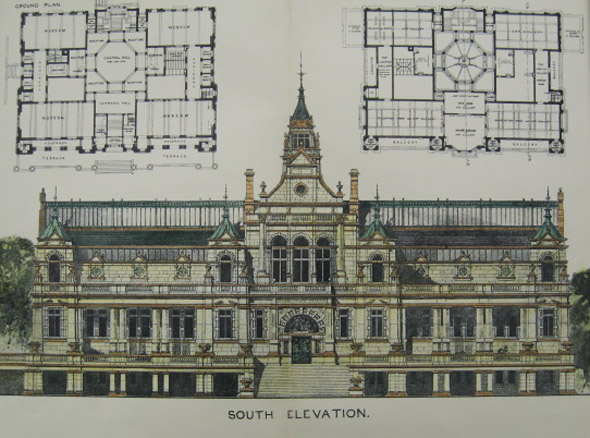 1900  Design for Cartwright Memorial Hall, Bradford, Yorkshire
