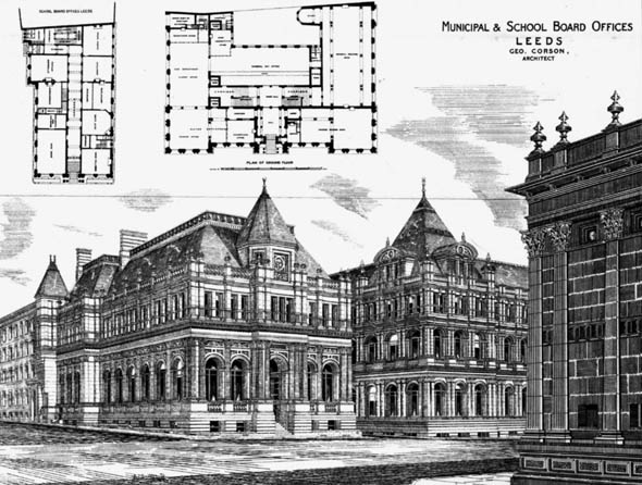1879 &#8211; Municipal &#038; School Board Offices, Leeds, Yorkshire