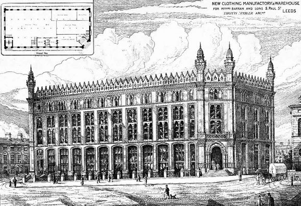 1879 – New Clothing Manufactory & Warehouse, Leeds, Yorkshire