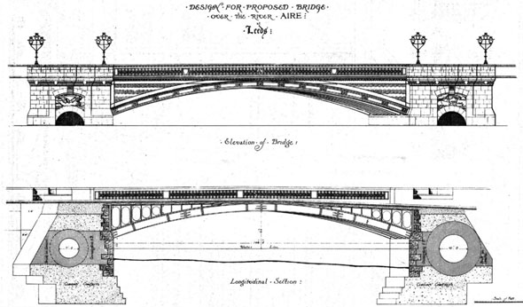 1870 &#8211; Proposed Bridge over River Aire, Leeds, Yorkshire