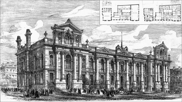 1876 &#8211; Prize Design for The Public Offices, Leeds, Yorkshire