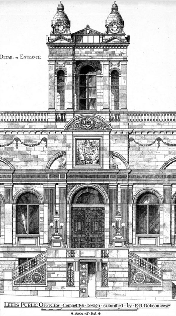 1877 – Competition design for Leeds Public Offices, Yorkshire